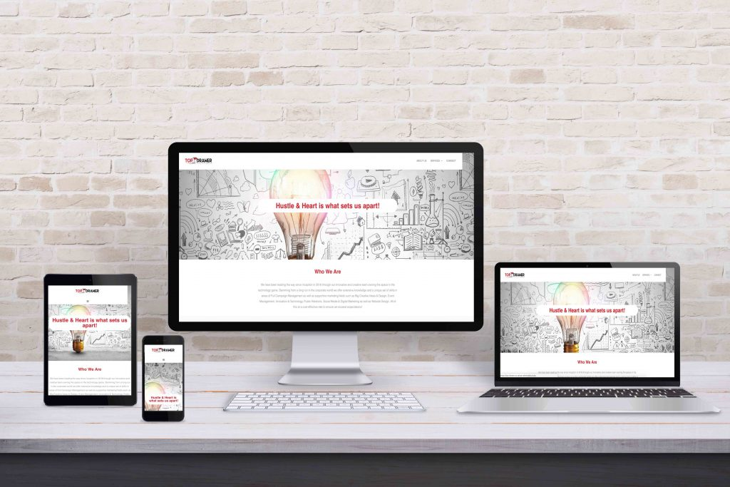 Multiple display devices with modern flat design web site Top Drawer